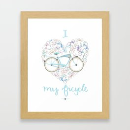 I Love my Bicycle Framed Art Print