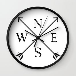 Black and White Compass Wall Clock