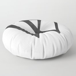 Letter W Initial Monogram Black and White Floor Pillow