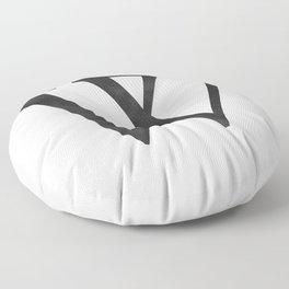 Letter W Initial Monogram Black and White Floor Pillow