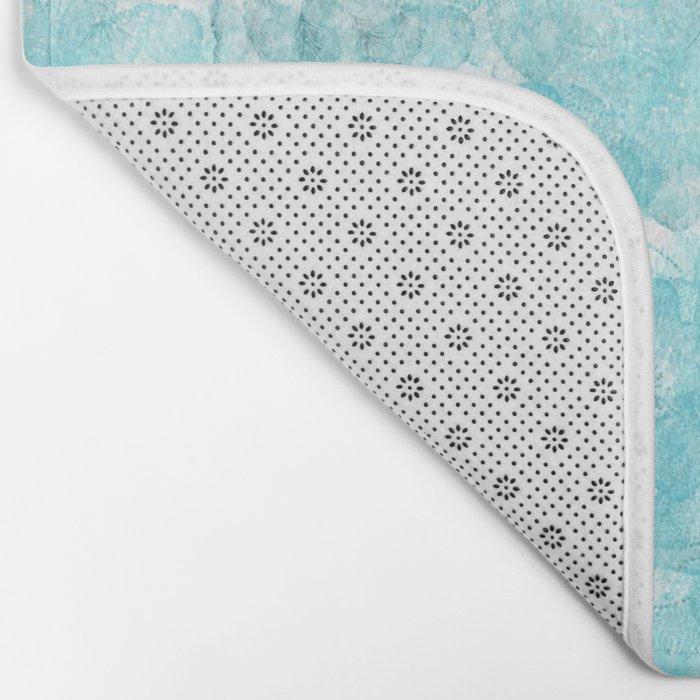 Turquoise aqua flower lace pattern on #Society6 Bath Mat