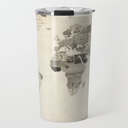 Map of the World Map from Old Postcards Travel Mug