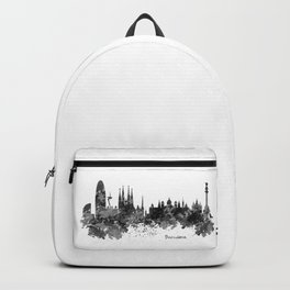 Barcelona Black and White Watercolor Skyline Backpack