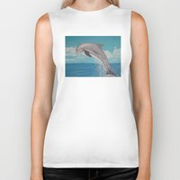 dolphin Biker Tanks featuring Dolphin by Sara Huszak Art and Design