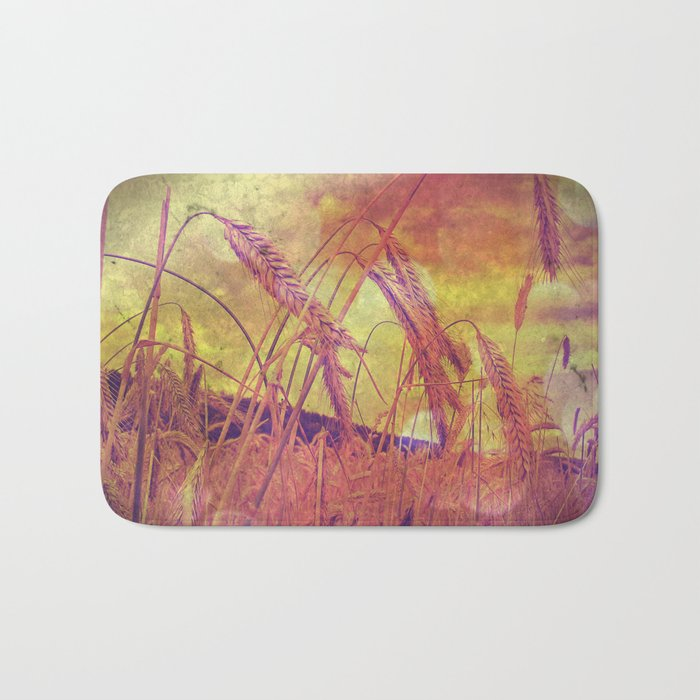 Pink And Gold Wheat Bath Mat