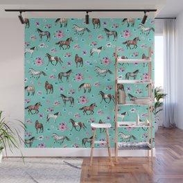 Hand drawn horses, Flower horses, Floral Pattern, Aqua Blue Wall Mural