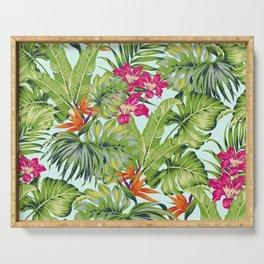 Bird of Paradise Greenery Aloha Hawaiiana Rainforest Tropical Leaves Floral Pattern Serving Tray