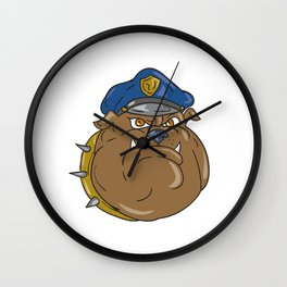 Bulldog Policeman Head Cartoon Wall Clock