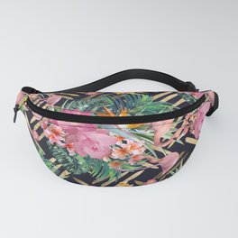 Tropical floral, flamingos and gold strokes pattern Fanny Pack
