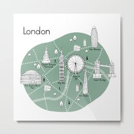 London Map - Green Metal Print