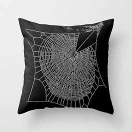 A Large Illustration Of A Spider's Web Throw Pillow