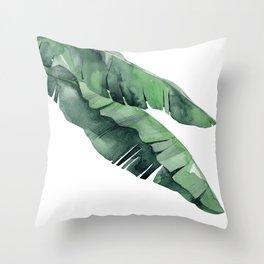 Tropical Island Leaves Pair Throw Pillow