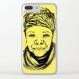 Maya Angelou - (yellow) Sketch to Digital Clear iPhone Case