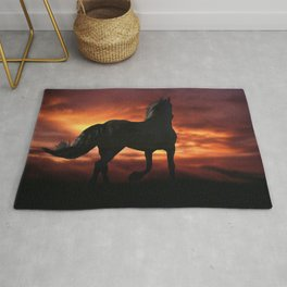 Horse kissed by the wind at sunset Rug
