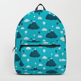Travel pattern with mountains and baloons Backpack