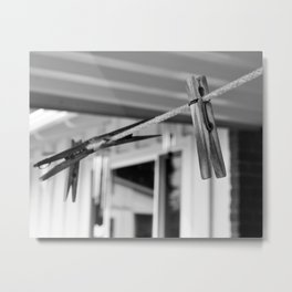 Clothespins on a Line Metal Print