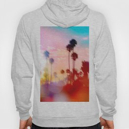 palm tree with sunset sky and light bokeh abstract background Hoody