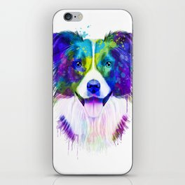 Border Collie watercolor, Watercolor Border Collie, Watercolor dog, Border Collie portrait iPhone Skin