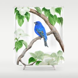Royal Blue-Indigo Bunting in the Dogwoods by Teresa Thompson Shower Curtain
