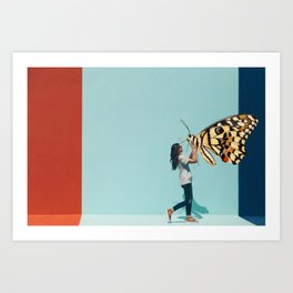 A Woman & Her Butterfly Art Print