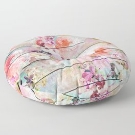Summer pastel pink purple floral watercolor rustic striped wood pattern Floor Pillow