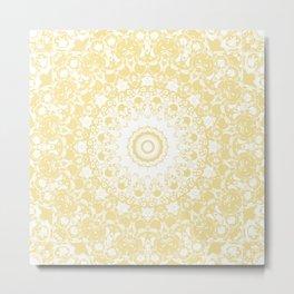 White Lace Mandala on Sunshine Yellow Background Metal Print