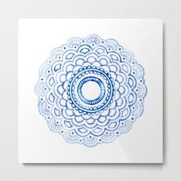 Baby Blue Mandala Metal Print