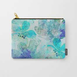 blue turquoise mixed media flower illustration Carry-All Pouch
