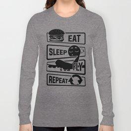 Eat Sleep Fly Repeat - Airplane Pilot Flight Long Sleeve T-shirt