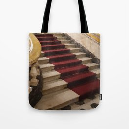 Stairs with red carpet Tote Bag
