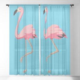 the Flamingo - vintage style illustration Sheer Curtain