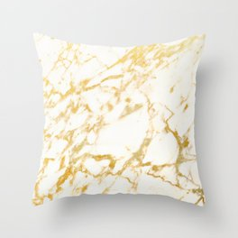 Ivory White Marble With Gold Glitter Ribboned Veins Throw Pillow