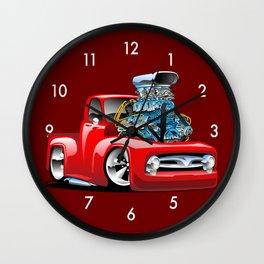 American Classic Hotrod Pickup Truck Cartoon Wall Clock