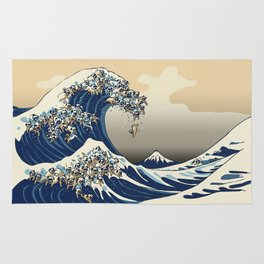 The Great Wave of Pugs Vanilla Sky Rug