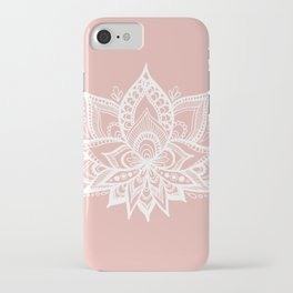 White Lotus Flower on Rose Gold iPhone Case