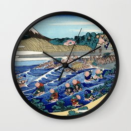 "Hokusai (1760-1849) ""The Fuji from Kanaya on the Tokaido"" Wall Clock"