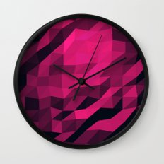 Red Pink Geometric Pattern Wall Clock