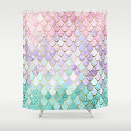 Iridescent Mermaid Pastel and Gold Shower Curtain