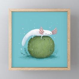 Axolotl on a Mossball Framed Mini Art Print