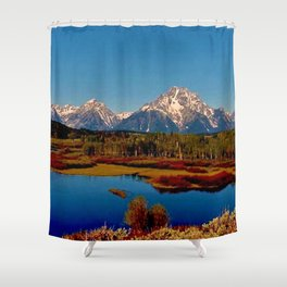 Grand Tetons of Wyoming in Autumn Shower Curtain