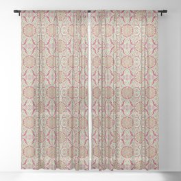 Poppy Pods, Mint, Red and Marigold Sheer Curtain