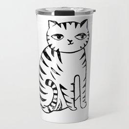 Cat linocut black and white minimal art portrait illustration cat lover gifts Travel Mug