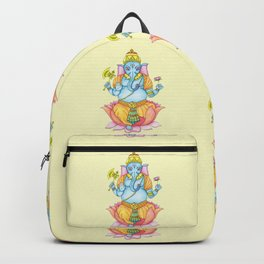 Zentange Ganesh colorful on yellow Backpack