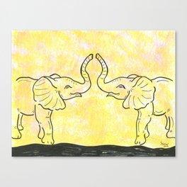 Jungle Elephant Love Canvas Print
