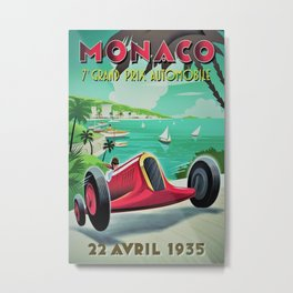 Vintage Monaco 7th Grand Prix Automobile Race 22 April 1935 Advertisement Poster Metal Print
