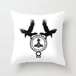 Norse Ravens - Mjolnir Throw Pillow