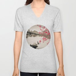 Japan Crane Fishing Unisex V-Neck