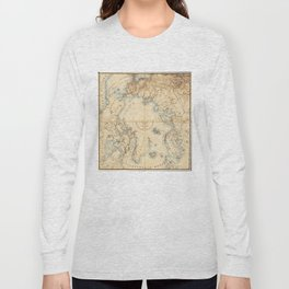Map of the Arctic and Adjacent Regions (1855) Long Sleeve T-shirt