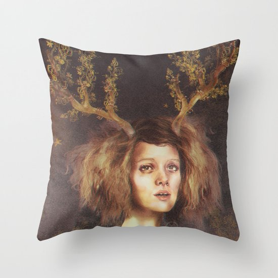 The Golden Antlers Throw Pillow