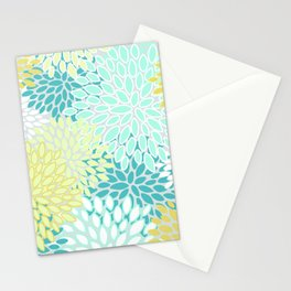 Festive Floral Prints, Teal, Turquoise and Yellow Stationery Cards